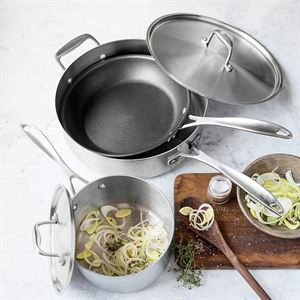 American Kitchen Cookware 5 piece Stainless Steel Cookware Set Made in USA