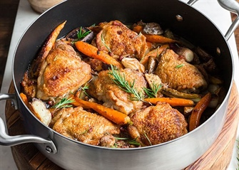 One Pot, Lemon & Rosemary Crispy Braised Chicken Thighs