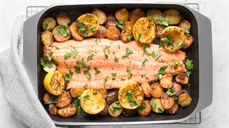 One Pan Lemony Baked Salmon with Crispy New Potatoes