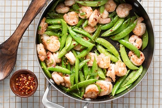 Sweet and Spicy Glazed Shrimp and Snow Peas