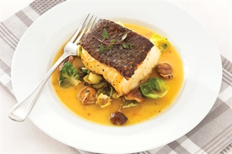 Pan Seared Sea Bass with Curried Apricot Sauce
