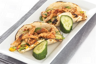 Tandoori Chicken Tacos with Basil Cucumber Slaw