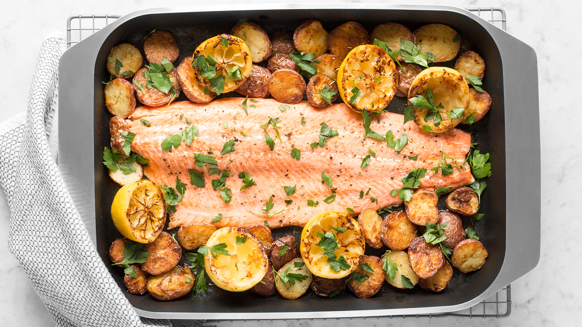 One Pan Lemony Baked Salmon Crispy New Potatoes Recipe American Kitchen Cookware
