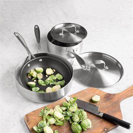 5 Pc Stainless Steel Cookware Set Made In Usa